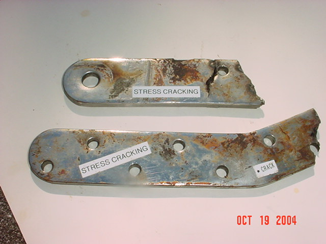 A chain plate that failed due to stress cracking corrosion. Note how much of it still looks bright and shiny.  This damage was discovered upon inspection of the chain plates and was limited to areas that were embedded (not exposed surfaces).